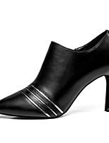 Недорогие -Жен. Балетки Наппа Leather Осень Обувь на каблуках На шпильке Черный / Миндальный