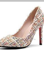Недорогие -Жен. Комфортная обувь Искусственный мех Лето Обувь на каблуках На шпильке Черный / Бежевый