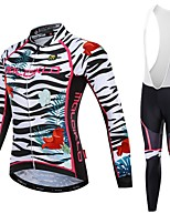cheap -Malciklo Women's Long Sleeve Cycling Jersey with Bib Tights - White / Black Bike Jersey, Quick Dry, Breathable, Reflective Strips Lycra Zebra / YKK Zipper / Italy Imported Ink