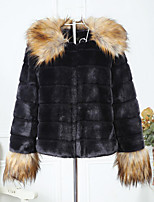Недорогие -Жен. Пальто с мехом Уличный стиль / Изысканный - Контрастных цветов Пэчворк