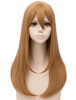 Недорогие -Wig Accessories Естественный прямой Боковая часть Искусственные волосы 22 дюймовый Кейс / Косплей Светло-коричневый Парик Жен. Длинные Без шапочки-основы Льняной