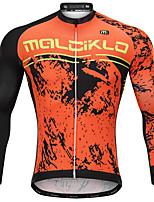 Недорогие -Malciklo Муж. Длинный рукав Велокофты - Оранжевый Мультипликация Велоспорт Джерси, Быстровысыхающий, Анатомический дизайн, Дышащий Мультипликация / Италия Импортные чернила
