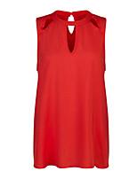 Недорогие -Жен. Аппликация Большие размеры - Блуза Вырез под горло Свободный силуэт Классический / Уличный стиль Однотонный / Лето