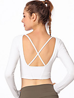 cheap -Women's Cross Back Yoga Top - White, Black, Red Sports Solid Color Baselayer Yoga, Fitness, Gym Long Sleeve Activewear Breathable, Compression, Sweat-wicking Stretchy Slim