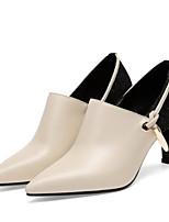abordables -Femme Escarpins Cuir Nappa Automne Chaussures à Talons Talon Bottier Noir / Beige