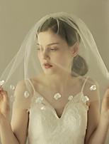 baratos -Uma Camada Estilo vintage / Estilo Clássico Véus de Noiva Véu Ombro com Pétala / Cor Única Tule
