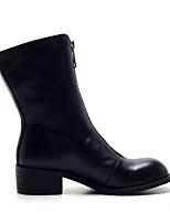 Недорогие -Жен. Fashion Boots Наппа Leather Зима Ботинки Блочная пятка Закрытый мыс Ботинки Черный / Миндальный