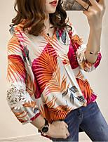 Недорогие -Жен. Плиссировка Блуза Уличный стиль / преувеличены Геометрический принт / Контрастных цветов