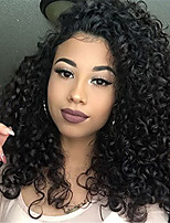 Недорогие -человеческие волосы Remy Полностью ленточные Лента спереди Парик Бразильские волосы Афро Квинки Черный Парик Ассиметричная стрижка 130% 150% 180% Плотность волос / с детскими волосами