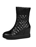 Недорогие -Жен. Fashion Boots Наппа Leather Весна Ботинки Туфли на танкетке Закрытый мыс Ботинки Белый / Черный