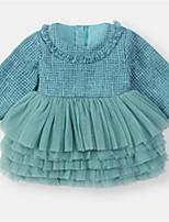 abordables -bébé Fille Couleur Pleine Manches Longues Robe