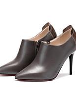 Недорогие -Жен. Fashion Boots Наппа Leather Лето Ботинки На шпильке Закрытый мыс Ботинки Черный / Серый