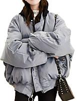 Недорогие -Жен. Повседневные Однотонный Короткая На подкладке, Полиэстер Длинный рукав Капюшон Белый / Черный / Лиловый M / L / XL