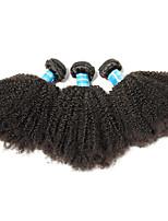 Недорогие -3 Связки Бразильские волосы Афро Не подвергавшиеся окрашиванию / Remy Человека ткет Волосы 8-26 дюймовый Нейтральный Ткет человеческих волос Лучшее качество / 100% девственница
