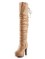 Недорогие -Жен. Комфортная обувь Полиуретан Зима Ботинки На толстом каблуке Сапоги выше колена Черный / Бежевый / Желтый