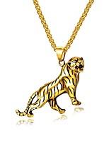 Недорогие -Муж. Стильные Ожерелья с подвесками - Титановая сталь Tiger Мода Cool Золотой, Серебряный 55 cm Ожерелье Бижутерия 1 комплект Назначение Подарок, Повседневные