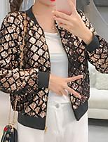 baratos -Mulheres Jaqueta Para Noite Estampa Colorida