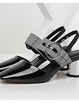 Недорогие -Жен. Комфортная обувь Наппа Leather Лето Свадебная обувь На толстом каблуке Черный / Свадьба