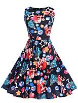 baratos -Mulheres Moda de Rua / Elegante Bainha Vestido - Estampado, Geométrica Altura dos Joelhos