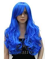Недорогие -Парики из искусственных волос Кудрявый Боковая часть Искусственные волосы 24 дюймовый синтетический Красный / Синий Парик Жен. Длинные Без шапочки-основы Тёмно-синий