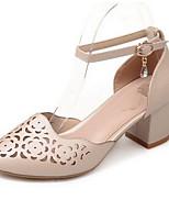 Недорогие -Жен. Комфортная обувь Микроволокно Лето Обувь на каблуках На толстом каблуке Черный / Розовый / Миндальный