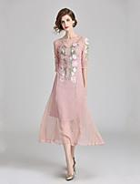 Недорогие -Жен. Классический / Элегантный стиль Оболочка Платье Кружева / Вышивка Средней длины