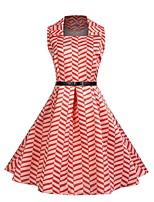 baratos -Mulheres Moda de Rua balanço Vestido - Estampado, Poá Altura dos Joelhos