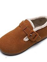 Недорогие -Девочки Обувь Замша Наступила зима Детская праздничная обувь На плокой подошве для Дети Черный / Пурпурный / Хаки