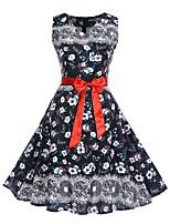 baratos -Mulheres Moda de Rua / Elegante Bainha Vestido - Estampado, Floral Altura dos Joelhos Rose