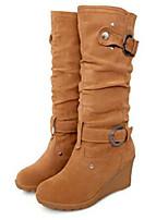 Недорогие -Жен. Fashion Boots Замша Наступила зима Ботинки Туфли на танкетке Круглый носок Сапоги до колена Желтый / Красный / Зеленый