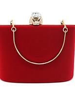 Недорогие -Жен. Мешки Бархат Вечерняя сумочка Кристаллы Сплошной цвет Черный / Красный / Лиловый