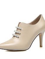 Недорогие -Жен. Балетки Наппа Leather Весна Обувь на каблуках На шпильке Черный / Миндальный