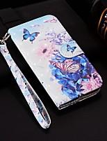Недорогие -Кейс для Назначение Huawei P smart / Enjoy 7S Кошелек / Бумажник для карт / со стендом Чехол Бабочка Твердый Кожа PU для Huawei P20 / Huawei P20 Pro / Huawei P20 lite / P10 Lite