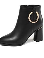 Недорогие -Жен. Fashion Boots Наппа Leather Осень Ботинки На толстом каблуке Закрытый мыс Ботинки Черный