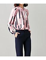Недорогие -Жен. Блуза V-образный вырез Свободный силуэт Полоски