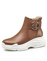 Недорогие -Жен. Комфортная обувь Наппа Leather Весна лето Ботинки Туфли на танкетке Черный / Коричневый