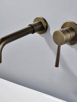 Недорогие -Ванная раковина кран - Широко распространенный Старинный На стену Одной ручкой Два отверстия