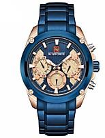 baratos -NAVIFORCE Homens Relógio Elegante Relógio de Pulso Japanês Quartzo Japonês 30 m Impermeável Calendário Noctilucente Aço Inoxidável Banda Analógico Luxo Fashion Preta / Azul - Preto Azul
