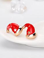 abordables -Femme Classique Boucles d'oreille goujon - Dessin Animé, Européen, Mode Rouge Pour Noël Quotidien