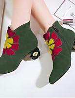 Недорогие -Жен. Fashion Boots Замша Осень Ботинки На толстом каблуке Закрытый мыс Ботинки Черный / Зеленый