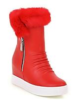 Недорогие -Жен. Ботильоны Полиуретан Осень Обувь на каблуках На плоской подошве Заостренный носок Ботинки Цветы из сатина Белый / Черный / Красный