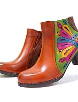Недорогие -Жен. Fashion Boots Кожа Весна & осень Винтаж Ботинки На толстом каблуке Круглый носок Ботинки Верблюжий / Черный / Красный