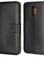 abordables -Coque Pour Samsung Galaxy J6 / J4 Portefeuille / Porte Carte / Avec Support Coque Intégrale Couleur Pleine Dur Cuir véritable pour J7 (2017) / J7 (2016) / J7