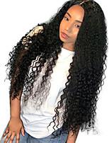 Недорогие -Remy Лента спереди Парик Бразильские волосы Кудрявый Парик Средняя часть 130% Средний размер / Природные волосы / 100% девственница Черный Жен. Длинные Парики из натуральных волос на кружевной основе