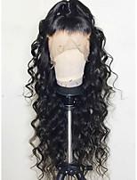 Недорогие -Remy Лента спереди Парик Бразильские волосы Естественные кудри Парик 130% Природные волосы / С отбеленными узлами Жен. Длинные Парики из натуральных волос на кружевной основе