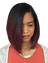 cheap -Synthetic Wig Straight Burgundy Bob Haircut Synthetic Hair 12 inch Natural Hairline Black / Burgundy Wig Women's Mid Length Capless Black / Burgundy / Yes