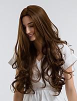 Недорогие -Парики из искусственных волос Кудрявый Средняя часть Искусственные волосы 28 дюймовый Природные волосы Коричневый Парик Жен. Средняя длина Без шапочки-основы Бежевый