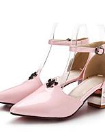 abordables -Femme Chaussures de confort Polyuréthane Eté Chaussures à Talons Talon Bottier Blanc / Noir / Rose