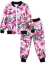 Недорогие -Дети Девочки Геометрический принт / Контрастных цветов Длинный рукав Набор одежды