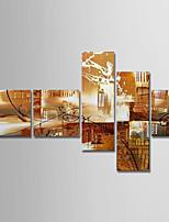 Недорогие -Hang-роспись маслом Ручная роспись - Абстракция Modern холст / 5 панелей